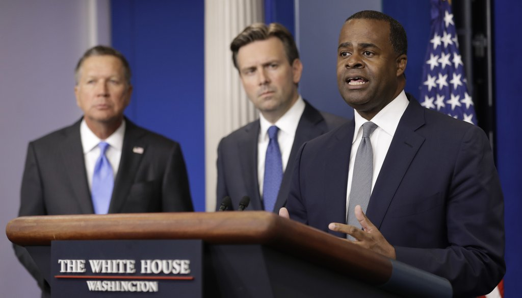 Atlanta Mayor Kasim Reed touts the TPP at a White House press conference