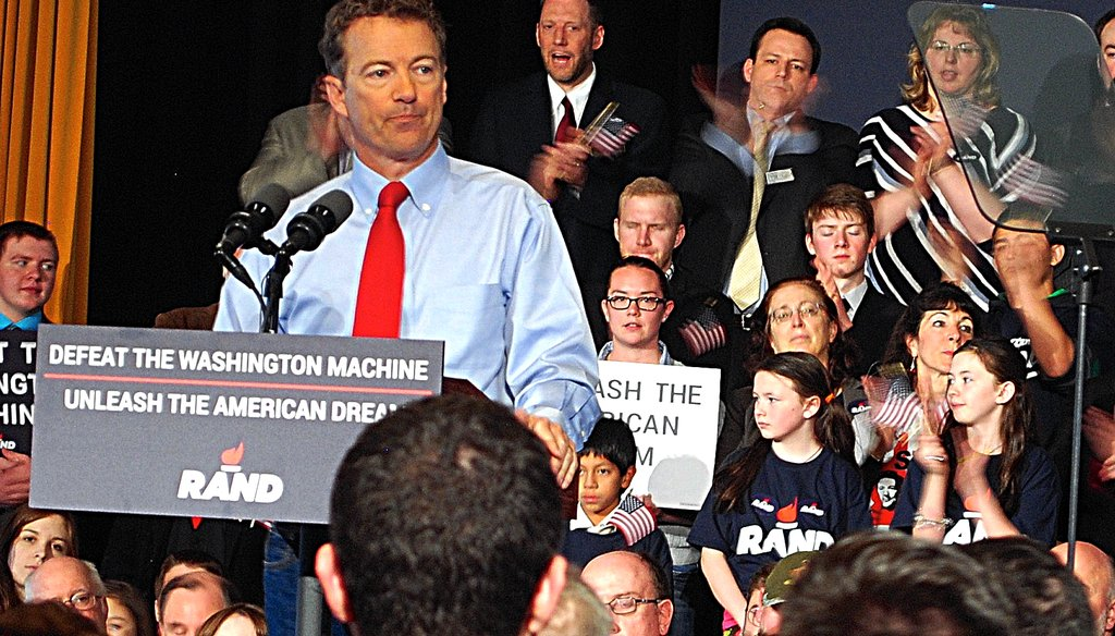 U.S. Sen. Rand Paul, R-Kentucky, spoke at Milford Town Hall in his first trip to New Hampshire since announcing his candidacy for president. Photo by NICK REID