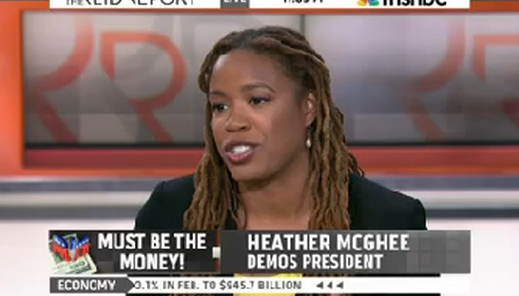 """Heather McGhee appeared on """"The Reid Report"""" on April 2, 2014."""