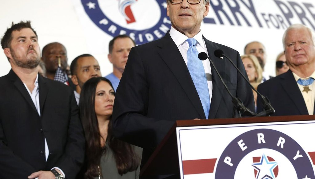 Former Texas Gov. Rick Perry announces his 2016 White House run surrounded by supporters on June 4, 2015, in Dallas. Getty.