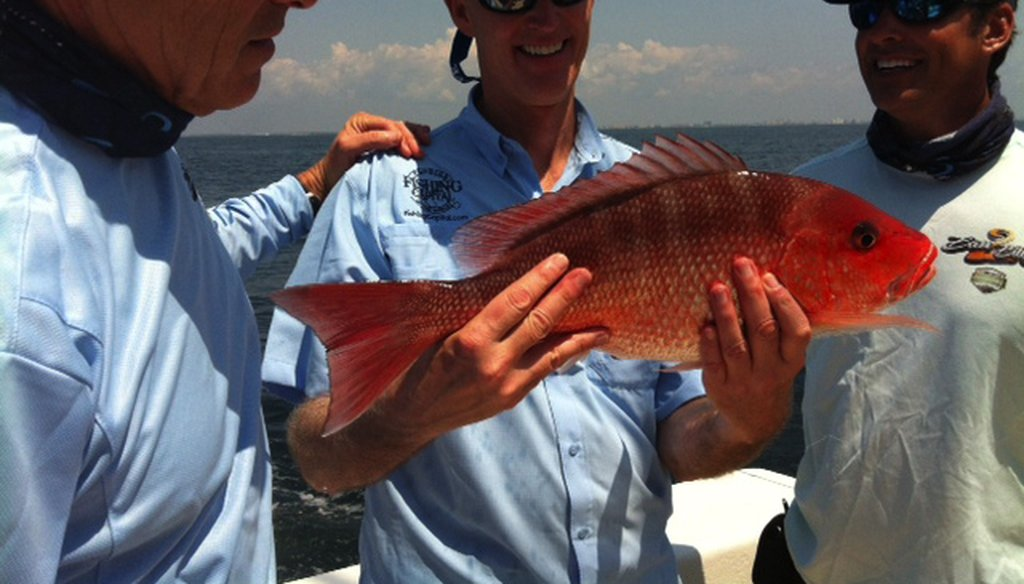 Florida Gov. Rick Scott beat Texas Gov. Rick Perry in a 2012 fishing derby off the Gulf of Mexico in Destin. Photo courtesy State of Florida.