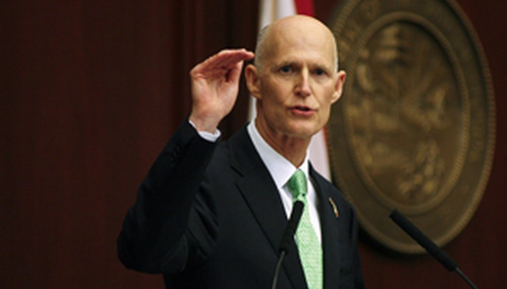 Rick Scott talked about job creation, education and tax cuts during his fourth State of the State address in Tallahassee on March 4, 2014. (AP photo)