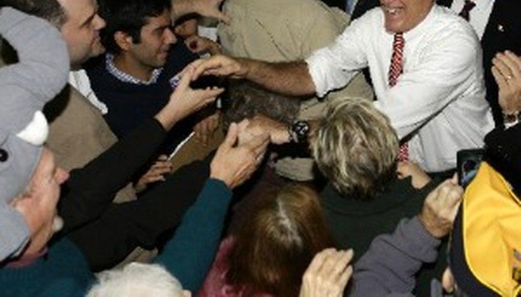 Mitt Romney stumps in Roanoke, Virginia, Nov. 1, 2012 (Associated Press photo, Charles Dharapak).