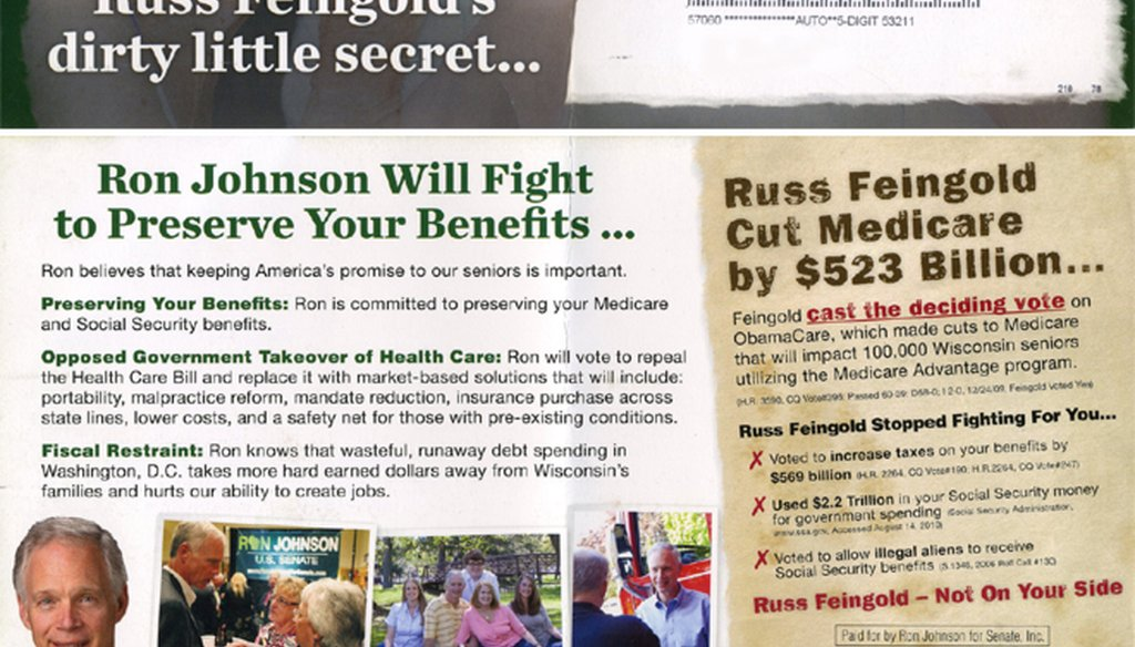 Republican Ron Johnson attacked Democratic Sen. Russ Feingold on Medicare in this mailing.