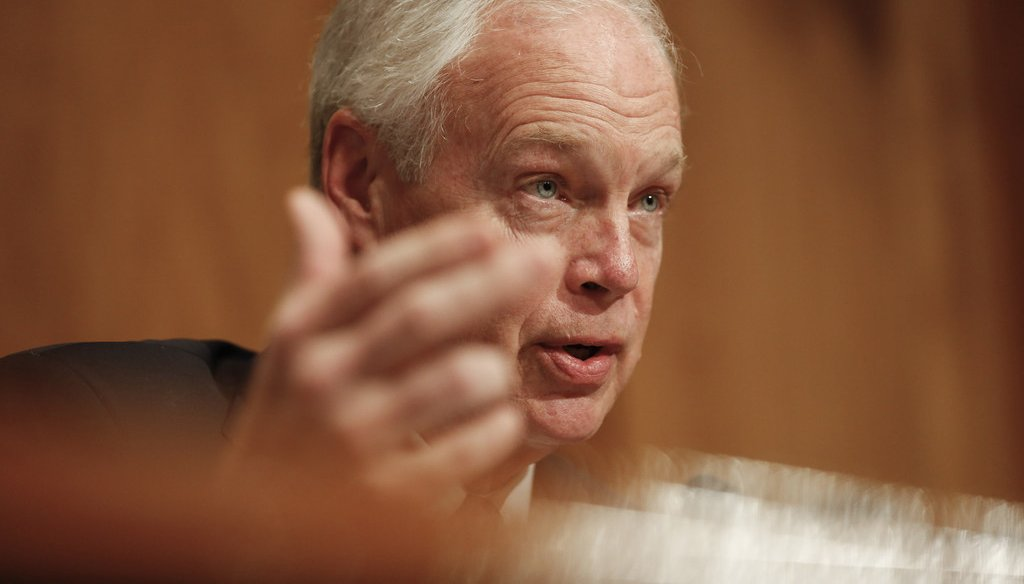 U.S. Sen. Ron Johnson (R-Wis.) questions witnesses during a hearing on migration at the United States Southern Border on April 9, 2019 in Washington, D.C. (Stefani Reynolds/CNP/Zuma Press/TNS)