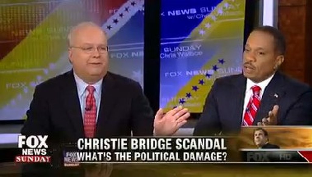 "Karl Rove appeared on the Jan. 12, 2014, broadcast of ""Fox News Sunday."""