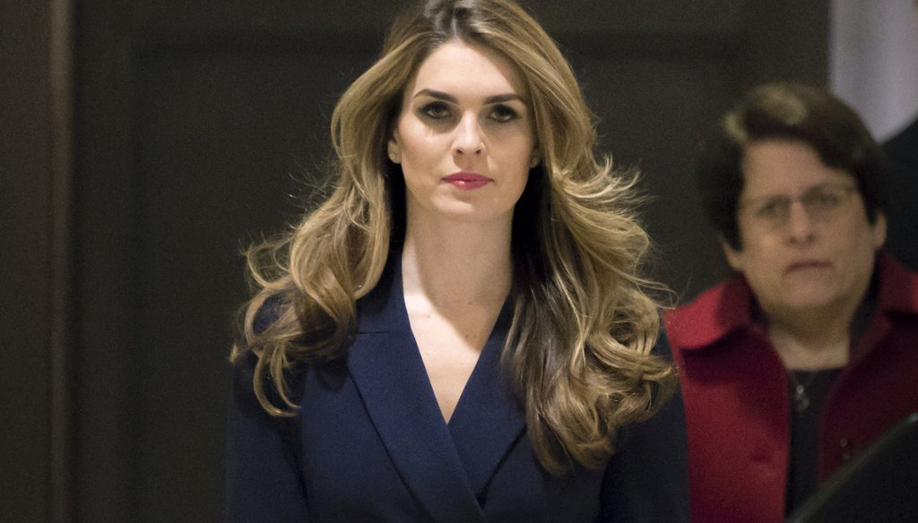 In this Feb. 27 2018 photo, White House Communications Director Hope Hicks, one of President Trump's closest aides and advisers, arrives to meet behind closed doors with the House Intelligence Committee, at the Capitol. (AP Photo/J. Scott App