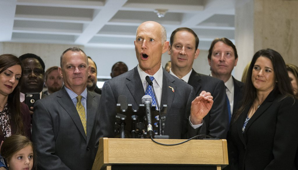 Florida Gov. Rick Scott speaks after the end of the legislative session at the Florida State Capitol in Tallahassee, Fla., Sunday, March 11, 2018. (AP Photo/Mark Wallheiser)