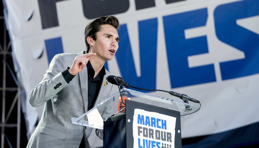 """David Hogg, a survivor of the mass shooting at Marjory Stoneman Douglas High School in Parkland, Fla., speaks during the """"March for Our Lives"""" rally in support of gun control in Washington on March 24, 2018. (AP Photo/Andrew Harnik)"""