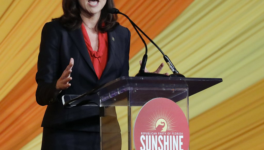 Ashley Moody, candidate for attorney general, speaks at the Republican Sunshine Summit Friday, June 29, 2018, in Kissimmee, Fla. (AP Photo/John Raoux)