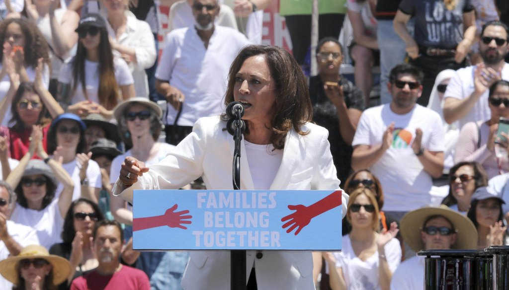 "United States Senator for California Kamala Harris speaks at the ""Families Belong Together: Freedom for Immigrants"" March on Saturday, June 30, 2018, in Los Angeles. (Photo by Willy Sanjuan/Invision/AP)"