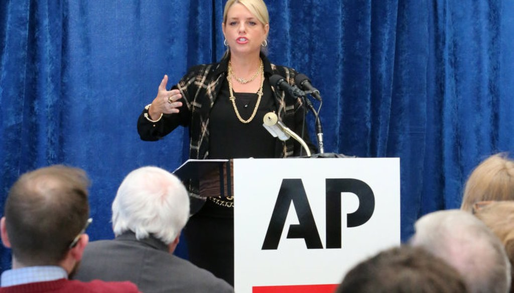 Attorney General Pam Bondi talks to the media at a news conference in Tallahassee on Jan. 28, 2015. (AP photo)
