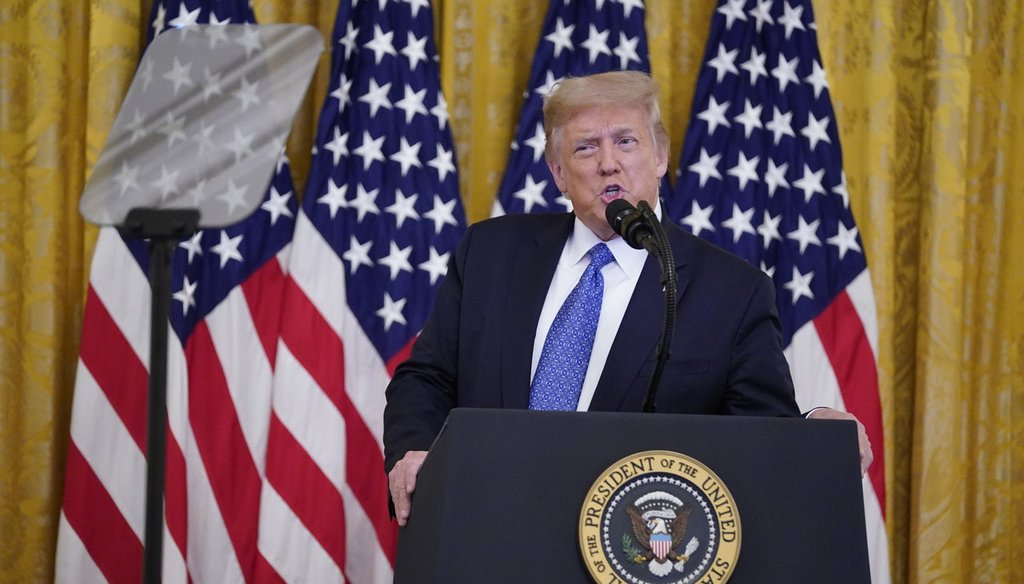 "President Donald Trump speaks during an event on ""Operation Legend: Combatting Violent Crime in American Cities,"" in the East Room of the White House, Wednesday, July 22, 2020, in Washington. (AP Photo/Evan Vucci)"