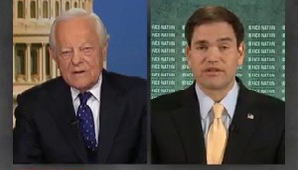 "Sen. Marco Rubio, R-Fla., appeared on the Jan. 12, 2014, broadcast of ""Face the Nation."""