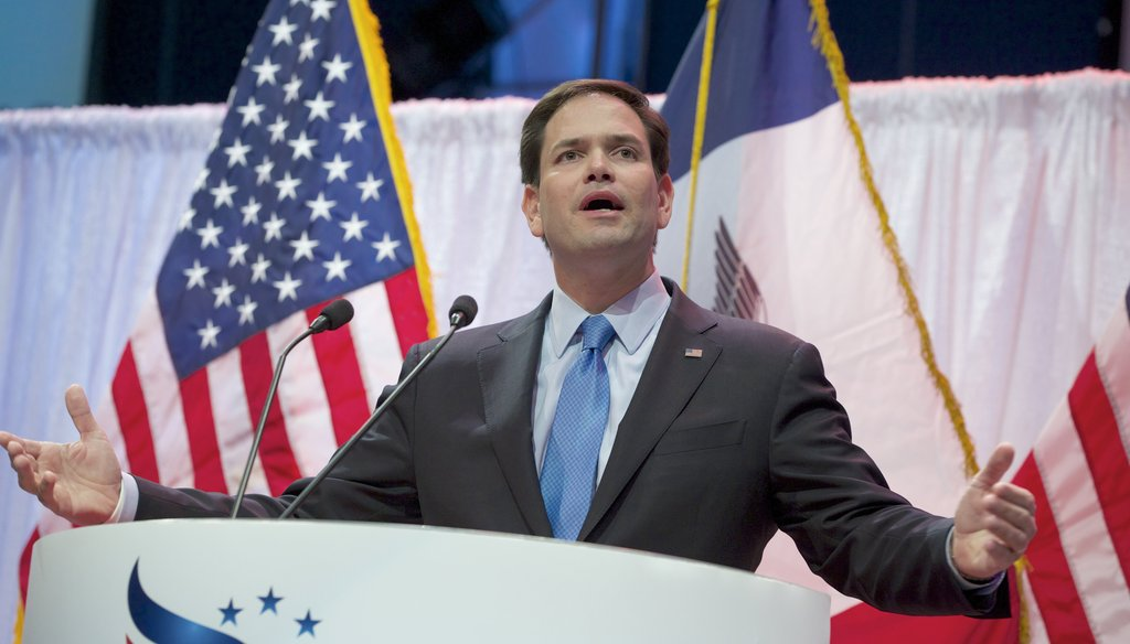 Sen. Marco Rubio speaks at the Iowa Faith & Freedom 15th Annual Spring Kick Off in Waukee, Iowa, on April 25. He spoke with the Des Moines Register editorial board during the trip. (AP photo)