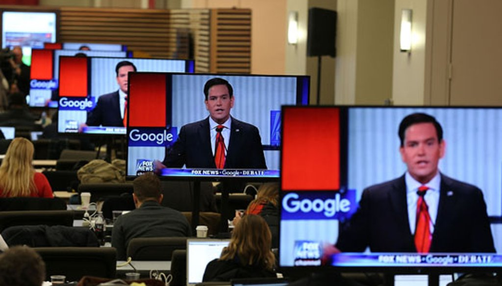 Florida Sen. Marco Rubio is shown speaking on reporters' TV screens at the Republican primary debate in Des Moines, Iowa, on Jan. 28, 2016. (Getty Images)