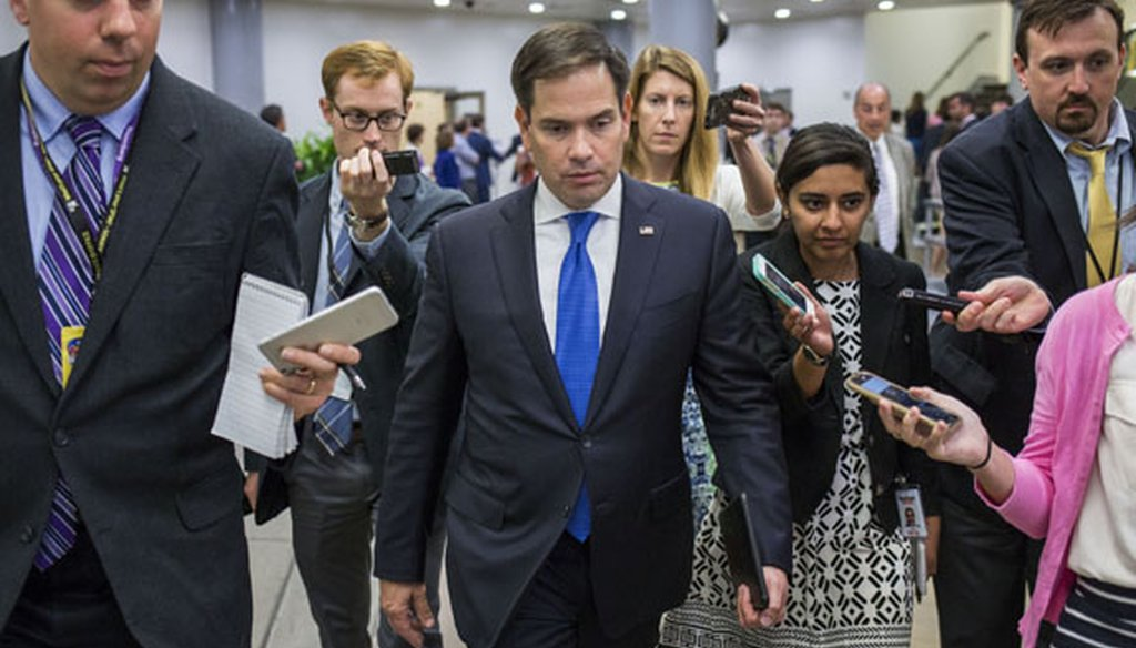U.S. Sen. Marco Rubio of Florida leaves the Capitol in Washington after a vote on Sept. 8, 2016. (New York Times photo)