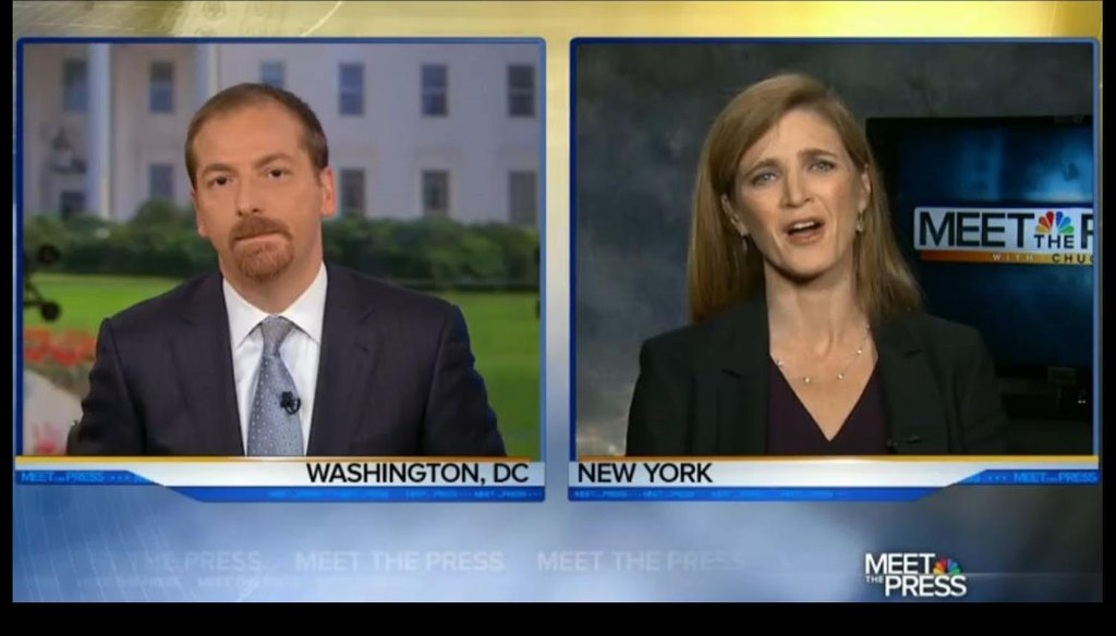 Samantha Power appeared on three news shows Sept. 21, 2014, to talk about international support for President Barack Obama's actions against the Islamic State.