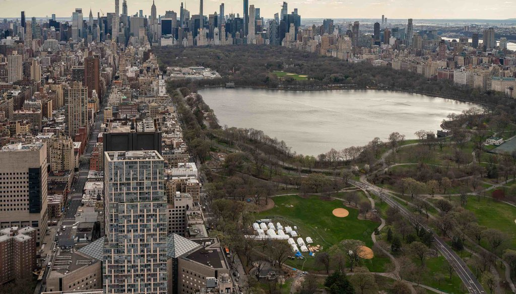 A field hospital comprising 14 tents operated from April 1 to May 5, 2020, in New York's Central Park to treat coronavirus patients transferred from Mount Sinai hospitals. (Samaritan's Purse)