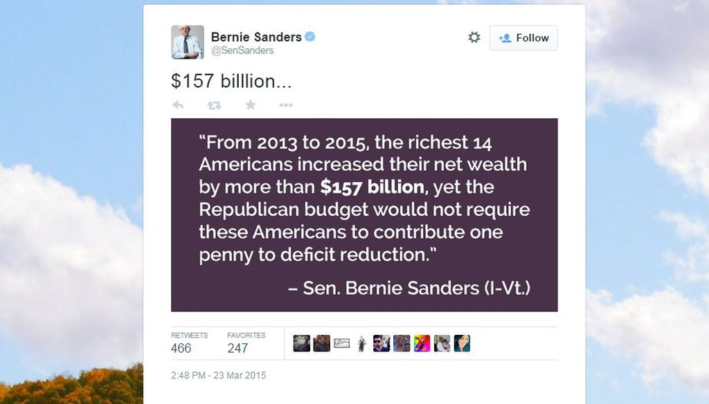"""In a Tweet March 23, Sen. Bernie Sanders, I-Vt., said the Republican budget proposal does not ask the ultra-wealthy to contribute """"one penny"""" to deficit reduction."""