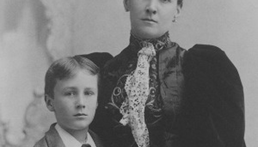 Ted Cruz's reference to horse thieves and Democrats was uttered before by Franklin D. Roosevelt's grandfather in connection with his mother's courtship by a Democrat. This photo shows the young FDR with his mother, Sara Delano Roosvelt (NEH photo).