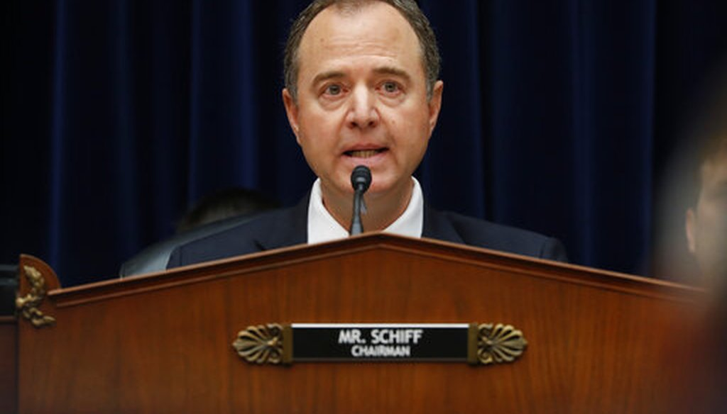 Rep. Adam Schiff, D-Calif., speaks before Acting Director of National Intelligence Joseph Maguire testifies before the House Intelligence Committee in Washington on Sept. 26, 2019. (AP/Monsivais)