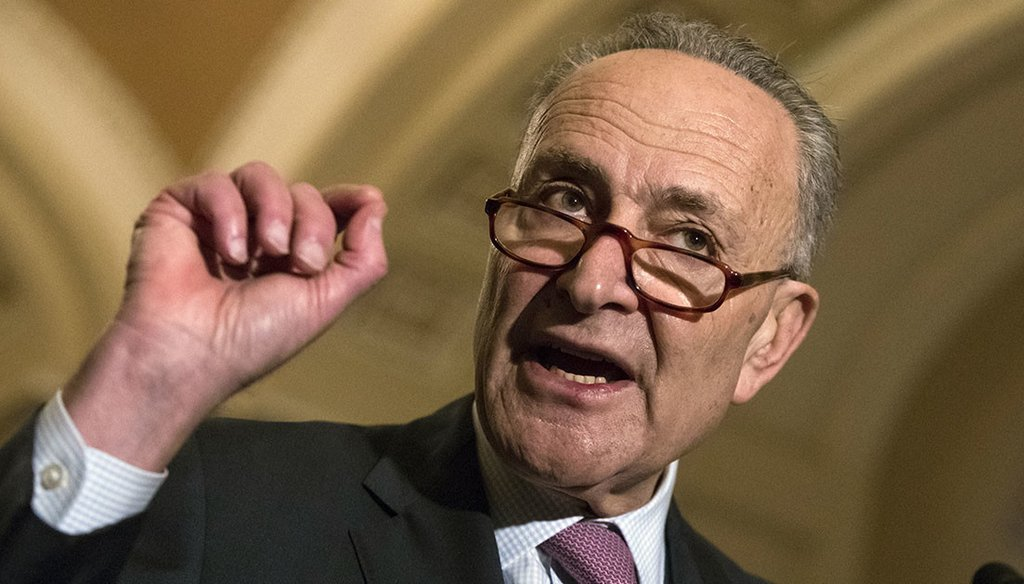 Senate Minority Leader Chuck Schumer is the subject of a fake news attack. (AP)