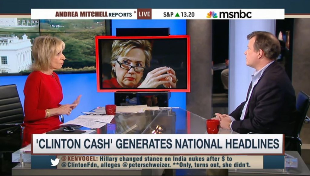 "NBC's Andrea Mitchell interviews ""Clinton Cash"" author Peter Schweizer on May 1, 2015."