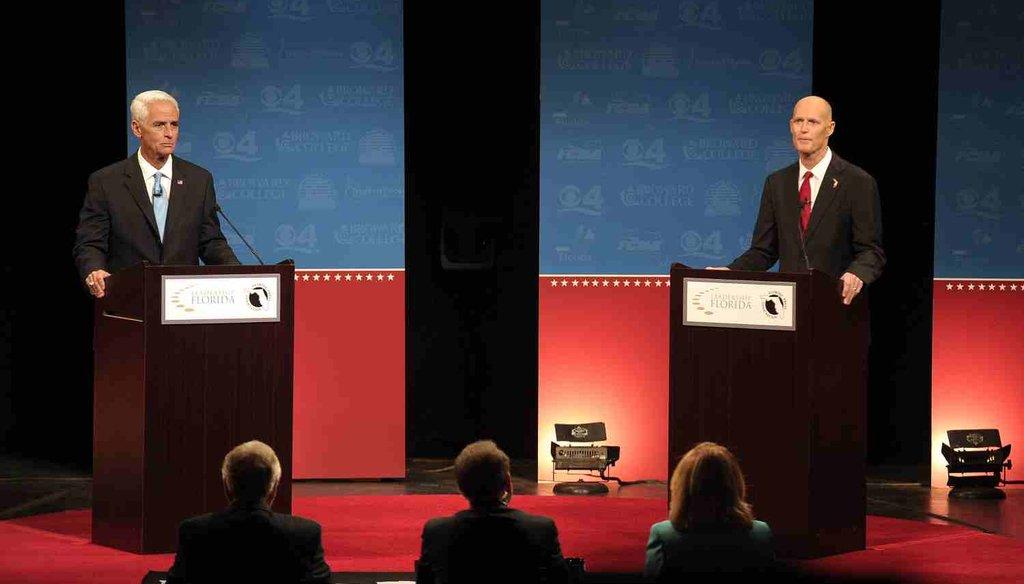 Former Gov. Charlie Crist and current Gov. Rick Scott debated at Broward College on Oct. 15, 2014.