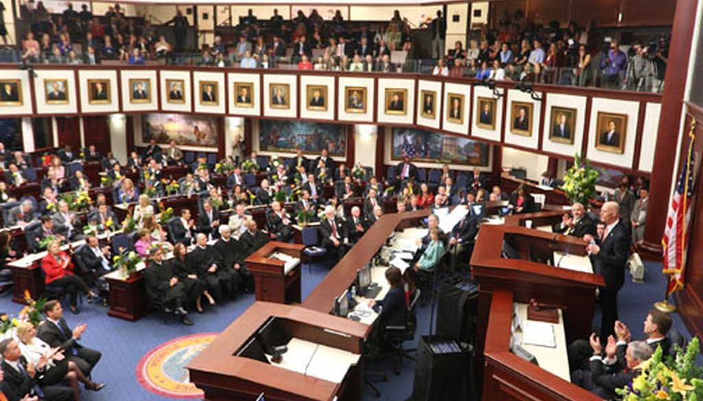 Gov. Rick Scott addresses the Florida Legislature on March 3, 2015, for his State of the State address at the beginning of the session. (Tampa Bay Times photo)