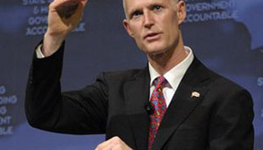 Gov. Rick Scott announced his budget plan at a tea party rally in Eustis on Feb. 7, 2011. (AP photo)