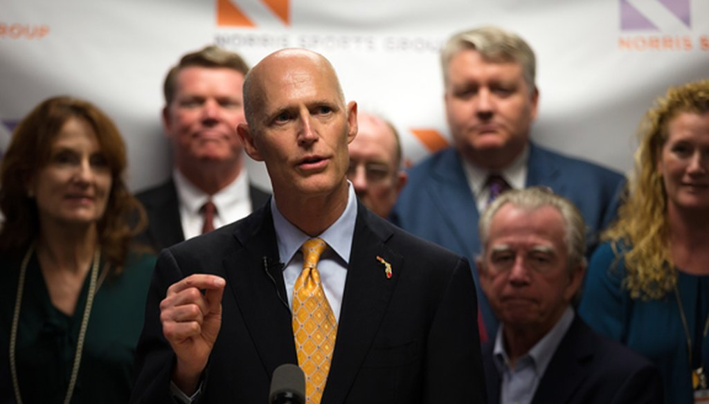 Gov. Rick Scott speaks at a news conference in Naples on March 27, 2015. (AP photo)