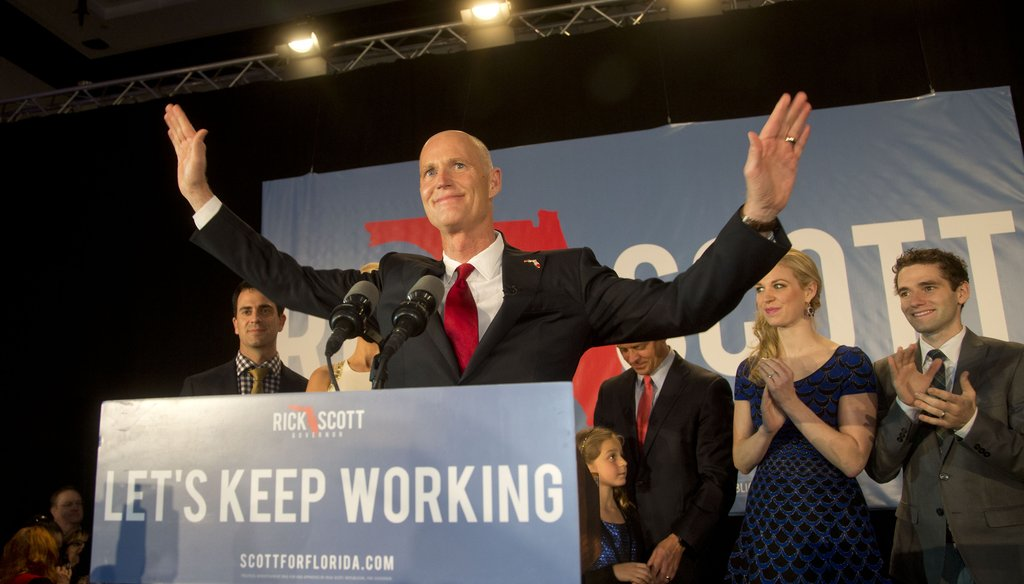 Gov. Rick Scott won a second term by 64,000 votes, and made a lot of new promises along the way. (AP photo)