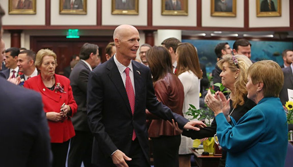 Gov. Rick Scott greets people before his State of the State address on Jan. 12, 2016. (Tampa Bay Times photo)