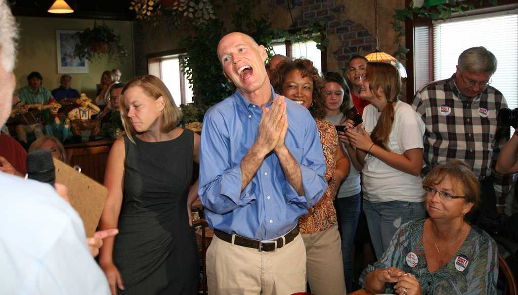 Gov.-elect Rick Scott can smile over some of his recent PolitiFact ratings.