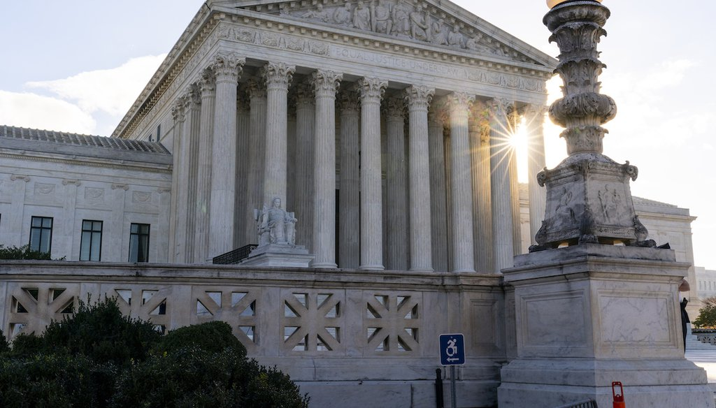The sun rises behind the U.S. Supreme Court as arguments are heard about the Affordable Care Act on Nov. 10, 2020, in Washington. (AP)