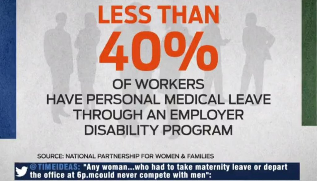 """Vicki Shabo of the National Partnership for Women and Families used this statistic to explain why she supports the FAMILY Act on MSNBC's """"The Cycle"""" on Dec. 12, 2013. Screenshot 