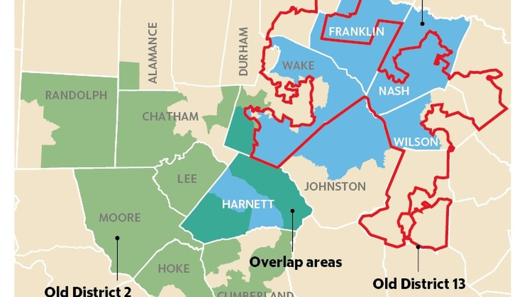 This map shows Rep. Ellmers' current 2nd district boundaries, Rep. Holding's current 13th District boundaries and how they overlap with the new 2nd District they're both running for