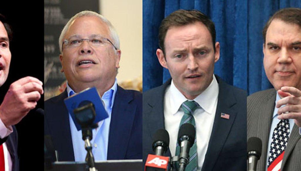 Sen. Marco Rubio, Bradenton developer Carlos Beruff, U.S. Rep. Patrick Murphy and U.S. Rep. Alan Grayson are running for Rubio's U.S. Senate seat. (File photos)