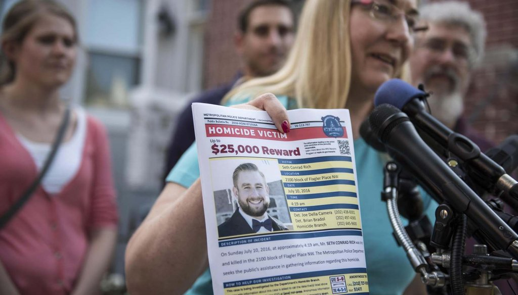 Mary Rich, the mother of slain DNC staffer Seth Rich, at a news conference in August. The family is demanding that Fox News retract stories. (Washington Post/Michael Robinson Chavez)