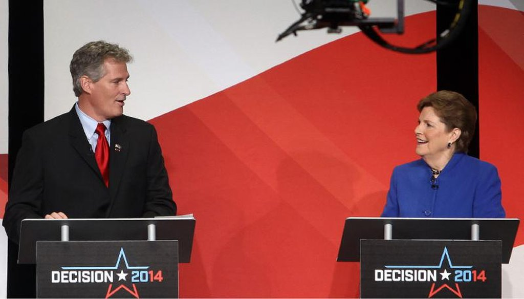 Jeanne Shaheen and Scott Brown debate in Concord on Oct. 21, 2014