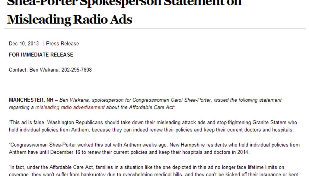 Shea-Porter claims radio ad about Affordable Care Act is misleading.