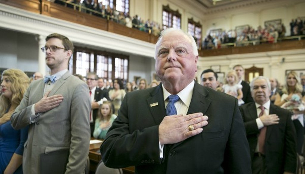 Trey Blocker says Sid Miller, the Texas agriculture commissioner shown here on the Texas House floor in January 2017, was slow to reveal a computer hack releasing personal data for more than 700 students (photo: Jay Janner, Austin American-Statesman).