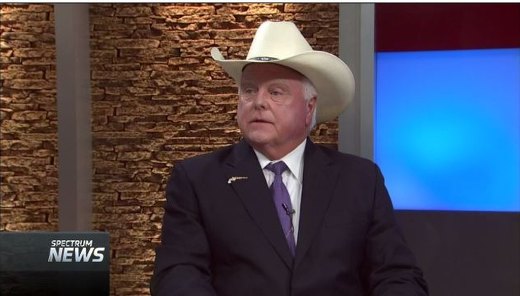 "Sid Miller, the Texas agriculture commissioner, talked  about polls on Confederate statues on the Aug. 23, 2017, edition of Spectrum Cable's ""Capital Tonight"" (screen grab)."