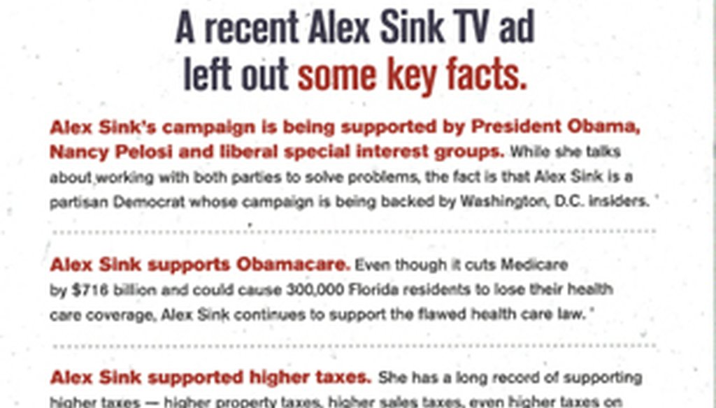 The Republican Party of Florida's mailer included a similar list of Alex Sink's tax positions as earlier fliers.