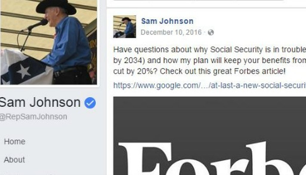 U.S. Rep. Sam Johnson made a claim about Social Security going bankrupt in this December 2016 Facebook post (screenshot).