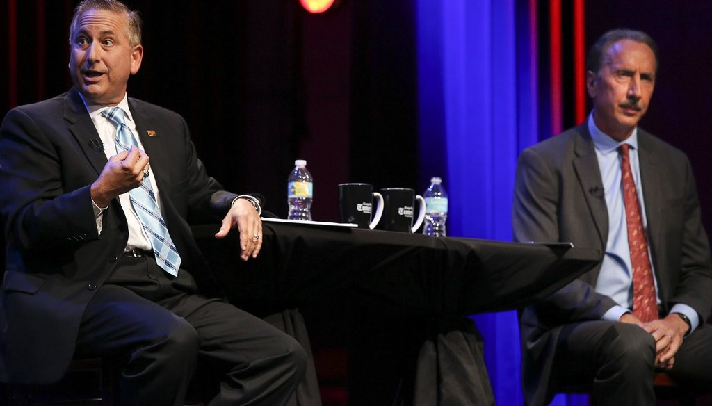 Incumbent Mayor Rick Kriseman and former Mayor Rick Baker debate in front of a live television audience during the City of St. Petersburg Mayoral Debate at the Palladium Theater in St. Petersburg on July 25, 2017. (DIRK SHADD | Times)
