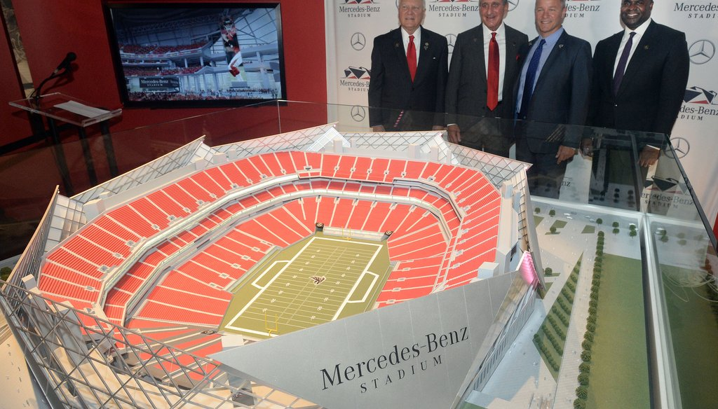 Officials gather to announce namiing rights deal and Mercedes-Benz Stadium