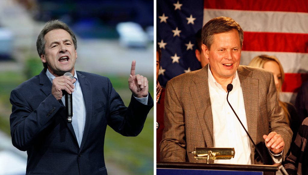 Democratic Gov. Steve Bullock (left) and Republican Sen. Steve Daines (right) are vying for Montana's Senate seat. (AP images)
