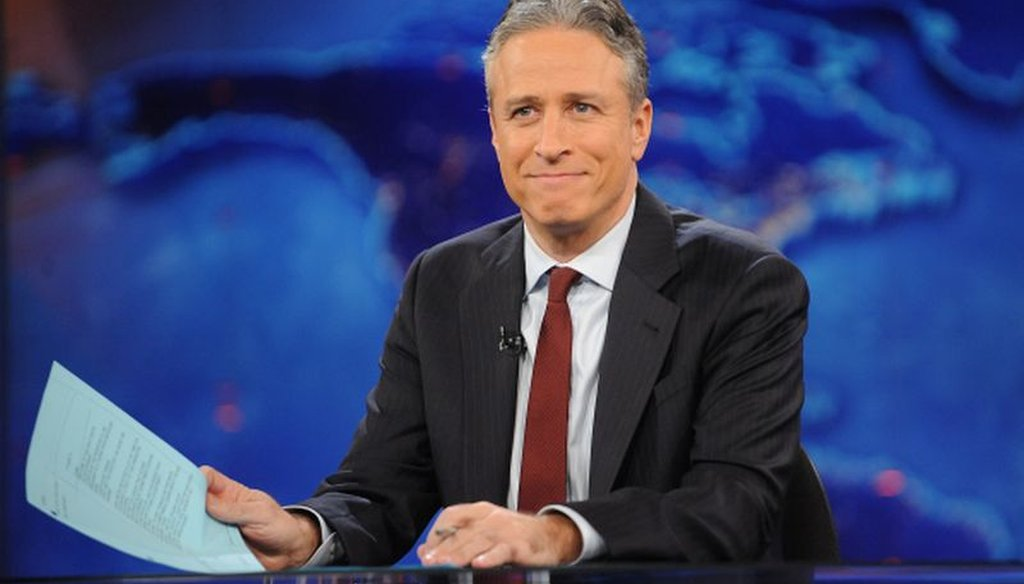 "Television host Jon Stewart tapes an episode of ""The Daily Show with Jon Stewart"" in New York in this 2011 file photo. Stewart will sign off for good Aug. 6. (AP)"